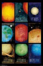 SOLAR SYSTEM ~ SUN & PLANETS COLLAGE 22x34 POSTER Earth Mars Saturn Jupiter