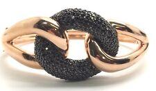 Sterling Silver Rose Gold Tone Black Onyx Cluster Heavy Chunky Bangle Bracelet