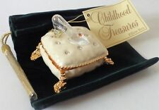Roman Inc. Childhood Treasures Slipper On Pillow Enamel Box Crystal Shoe #49454