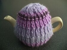 TEA COSY - HAND KNITTED & SUITABLE FOR SMALL 1 to 2 CUP TEAPOTS - PURPLE MIX