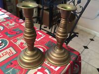 pair Civil War era brass tin bottom candlesticks weighted