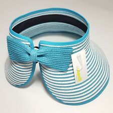 NEW Capelli Women's Roll-Up Wide Brim Sun Visor Straw Beach Hat White Blue Bow
