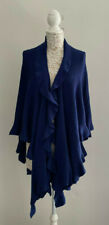 Coldwater Creek Blue Ruffled Cape Draped Open Sweater One Size