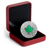 2014 $20 1oz Silver Canada Fine Silver Green Maple Leaf Impression w/ Box & COA