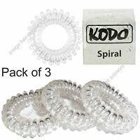 KODO Spiral Hair Bobble Invisible Hair Bands 3 PACK No Pain Damage Tangles CLEAR