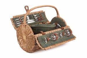 Red Hamper 2 Person Green Tweed Barrel Wicker Picnic Basket