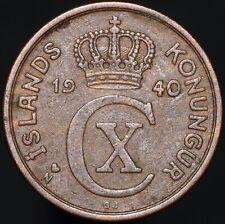 More details for 1940 n; gj   iceland christian x 2 aurar   bronze   coins   km coins