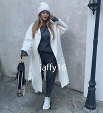 ZARA NEW WOMAN LONG  BELTED COAT OYSTER WHITE XS-XL 7522/047