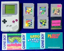 Original Game Boy & 6 Games Pac Man Road Champs Battletoads Kirby Pinball & More