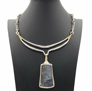 Robert Lee Morris RLM Statement Pendant Necklace Silver Tone Link Chain Pendant