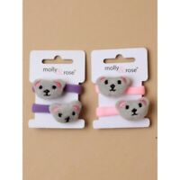 2 packs of  Teddy bear motif jersey ponios.  pink and Lilac girls hair bobble HH