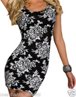 Womens Petite Sexy Fitted Floral Little Mini Black Dress, SM, Floral Print