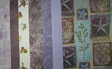 7 SHEETS 12 x 12 PAPER BLUE PURPLE PANSIES SHELLS TILE Flowers