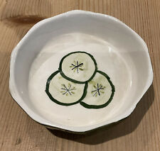 More details for vintage retro toni raymond pottery hand painted bowl dish cucumber kitchen 4 1/2