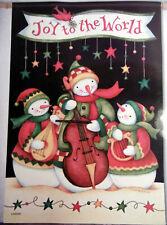 """Lrg Carson Holiday Musical Snowmen """"Joy to the World"""" Christmas Flag (28"""" x 40"""")"""