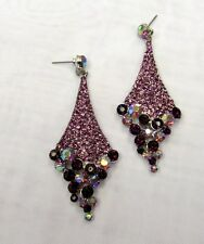 Silver Plated Purple Rhinestone Crystal Dangle Earrings # 0345 Wedding Prom