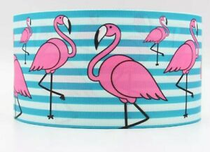 "FLAMINGO Grosgrain RIBBON 1m x 22mm width (7/8"") birthday cup cake hair bow pink"
