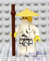 NEW Lego Ninjago SENSEI WU MINIFIG - White Ninja Minifigure w/GOLD RICE HAT 9450
