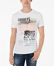 GUESS Mens White Black Gray Graphic Short-sleeve Crew Neck Top Tee T Shirt L