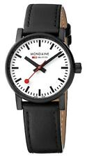 Mondaine evo2 Case Black Leather Strap White Dial Mens Watch MSE.30111.LB £219
