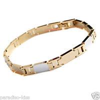 bracciale braccialetto da uomo in acciaio dorato elegante cod. 92