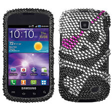 For Samsung Galaxy Proclaim Crystal Diamond BLING Hard Case Phone Cover Skull