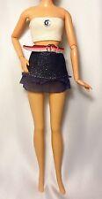 BARBIE bustier Scintillante Haut avec bijou Mini Jeans Jupe avec Sheer détails