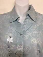 Columbia Shirt Womens S Blue Resting Meadow Long-Sleeve Snap-Front Cotton NEW