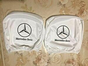 2pcs Mercedes-BENZ white seat cushion headrest covers