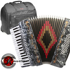 NEW ROSSETTI PIANO ACCORDION 72 BASS 34 KEYS 5 SWITCHES GREY R3472-GY + GIG BAG