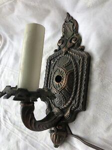 Antique 20s Spanish Revival Tudor Gothic Wall Sconce Light Fixture Fleur De Lis