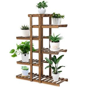 Estante de madera para flores con soporte para plantas de varios niveles