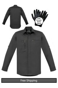 Mens Streetworx L/S Stretch Work/casual Shirt-Charcoal-PLUS free Nitrile gloves