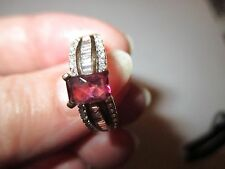 14K  YELLOW  GOLD AND .33 DIAMOND NATURAL PINK TOURMALINE RING 5.5