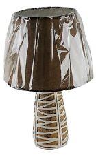 "Ceramic 16"" Table Lamp & Shade Beige / White Finish Night Stand Counter U/L"