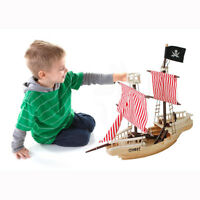 "43"" Wooden Pirate Ship Toy Nautical Ocean Pirates Ships Wood Boats Model Playset"