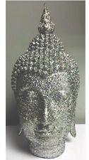 31cm Sparkly Silver Glitter Buddha Head Ornament Home Decor Gift