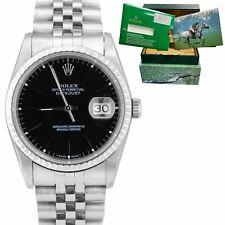 1991 Rolex DateJust 36mm Black Stick 16220 Jubilee Stainless Steel Watch 16234