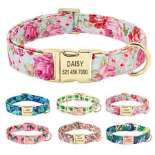 Floral Personalized Nylon Dog Collars Laser Engraved Gold Pet ID Nameplate Tags