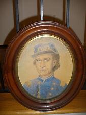 Antique 19th pastel portrait Civil War Union Officer in uniform kepi US Insignia