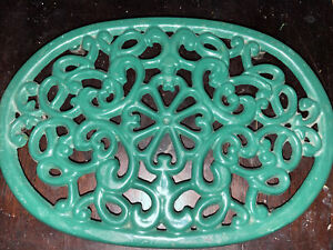 Cast Iron Trivet White Enamel Footed Oval Hot Plate