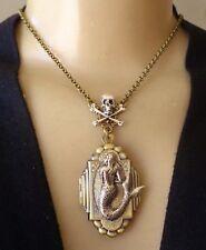 By the Sea Mermaid Necklace Huge Locket Pendant W Skull n Crossbones Centerpiece