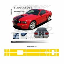 Ford Mustang GT 2005-2009 w/ Hood Scoop Stripes Graphic Kit - Bright Yellow