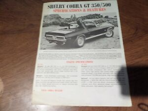 1968 FORD MUSTANG SHELBY GT 350 GT 500 GENERAL SPECIFICATION INSERT 68 FOMOCO