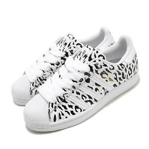 adidas Originals Superstar W Cheetah Print Leopard White Black Women Shoe FV3451