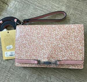 NWT EXCLUSIVE Patricia Nash Apricale Leather Crossbody /wristlet Blush Bouquet