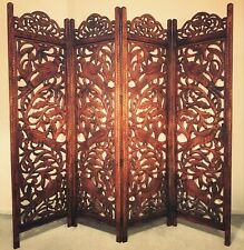 Hand Carved Indian Sheesham Room Divider / Screen - 4 Panel, Birds & Trees, 6ft