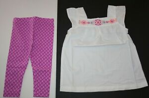 New Carter's Girls 2 Piece 5T Set Outfit Embroidered Top & Purple Capri Leggings