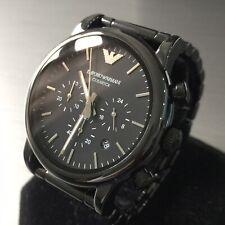 Mens Emporio Armani Designer Watch AR1507 Black Ceramic Chronograph Genuine