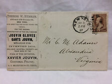 Vintage 1887 USPS Cover  Theo Stemmler New York City Jouvin Gloves Gants Jouvin